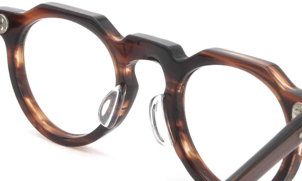眼鏡の鼻あて・パット交換 Lesca-Vintage CrownPanto 6mm Brown-sasa クリアパッド大 加工後