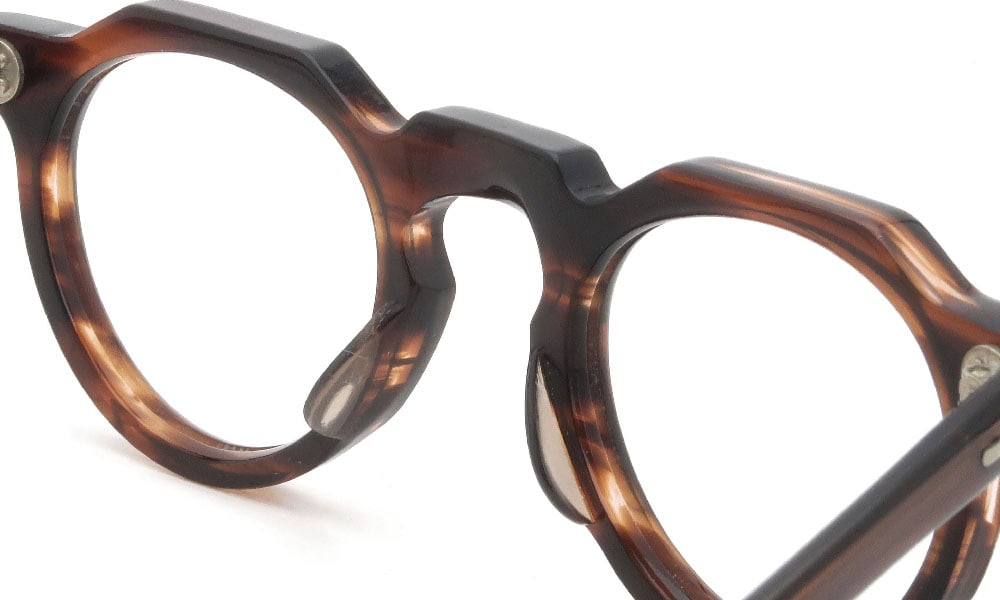 眼鏡の鼻あて・パット交換 Lesca-Vintage CrownPanto 6mm Brown-sasa クリアパッド大 加工前