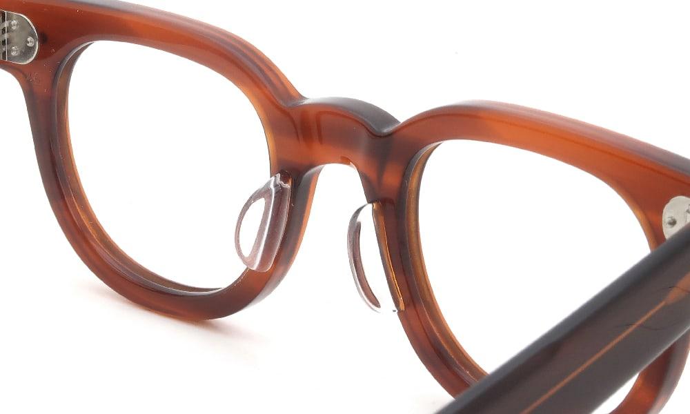 眼鏡の鼻あて・パット交換 JULIUS TART OPTICAL FDR-46 Demi-Amber クリアパッド大 加工後