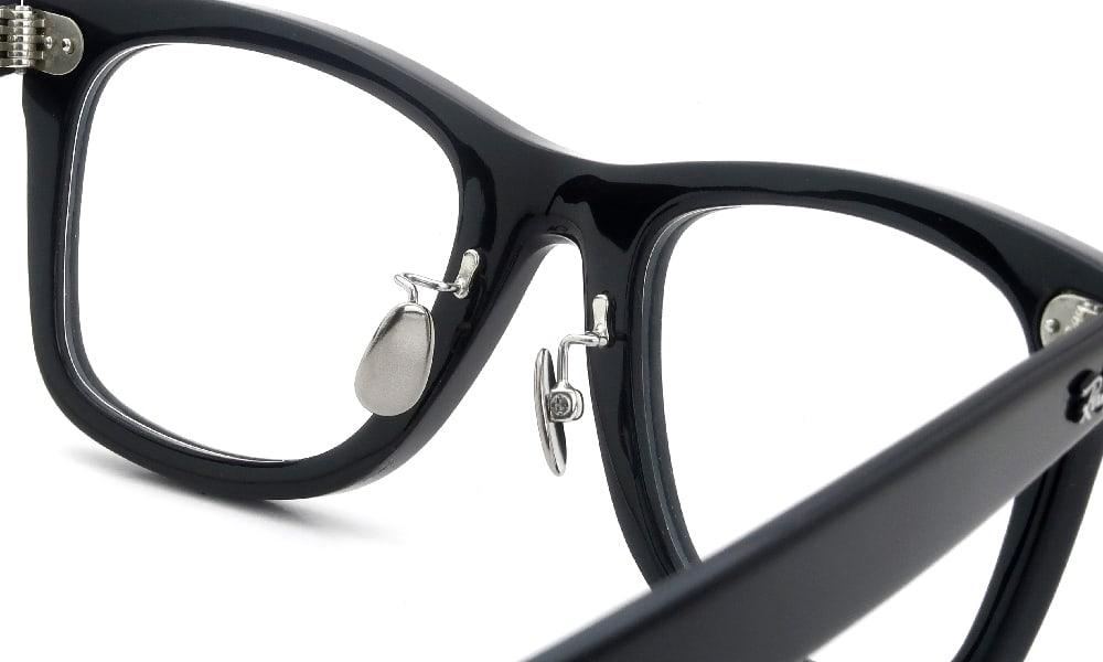眼鏡の鼻あて・パット交換 RayBan WAYFARER RB-5121F BLACK 埋め込み式チタンパッド 加工後