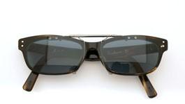 泰八郎謹製 ポンメガネオリジナル跳ね上げ式クリップオンサングラス Exclusiv4 CHS グリーンブルーレンズGM 装着例 閉じた状態