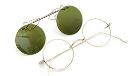 白山眼鏡 跳ね上げ式クリップオンサングラス SILVER 925/K14WG ヴィンテージグリーンレンズ 装着例