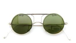 白山眼鏡 跳ね上げ式クリップオンサングラス SILVER 925/K14WG ヴィンテージグリーンレンズ 装着例_close