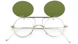 白山眼鏡 跳ね上げ式クリップオンサングラス SILVER 925/K14WG ヴィンテージグリーンレンズ 装着例_open