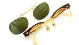白山眼鏡×The Tenderloin ポンメガネオリジナル跳ね上げ式クリップオンサングラス K-seven ヴィンテージグリーンレンズGM 装着例
