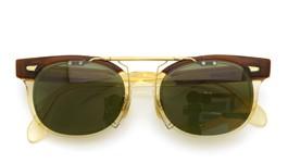 白山眼鏡×The TenderloinクリップオンサングラスK-seven ヴィンテージグリーンレンズGM 装着例 閉じた状態