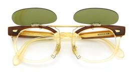 白山眼鏡×The Tenderloin ポンメガネオリジナル跳ね上げ式クリップオンサングラス K-seven ヴィンテージグリーンレンズGM 装着例 開いた状態