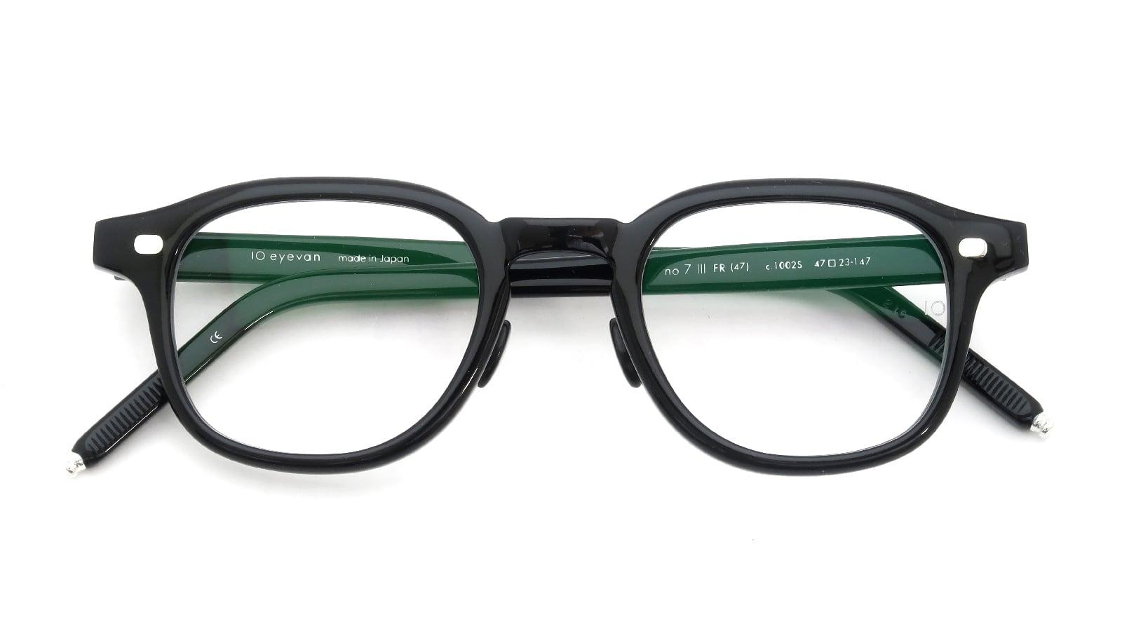 10 eyevan NO.7 Ⅲ FR 47size c.1002S Black 折り畳み詳細