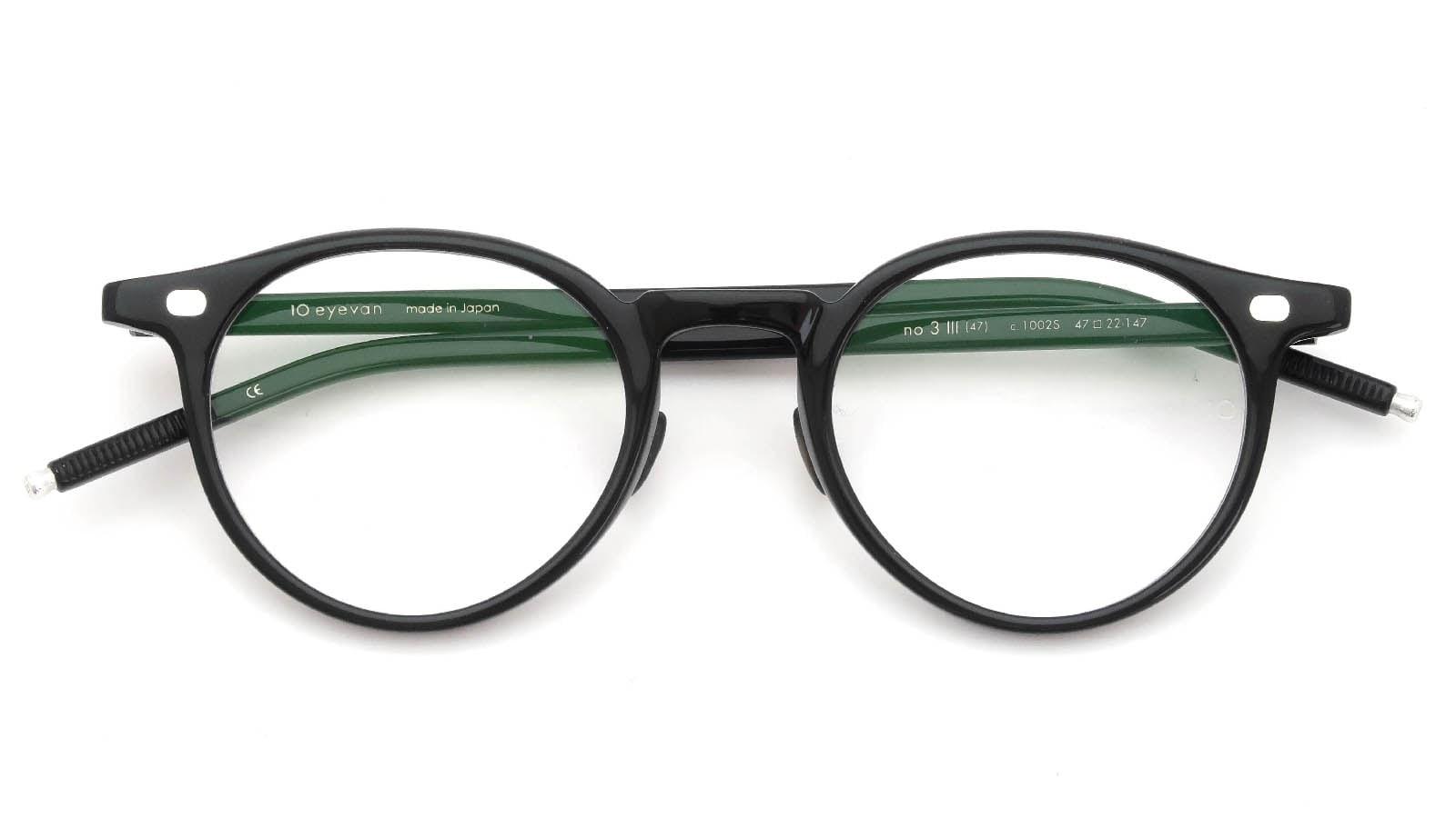 10 eyevan NO.3 Ⅲ 47size  c.1002S Black 折り畳み詳細