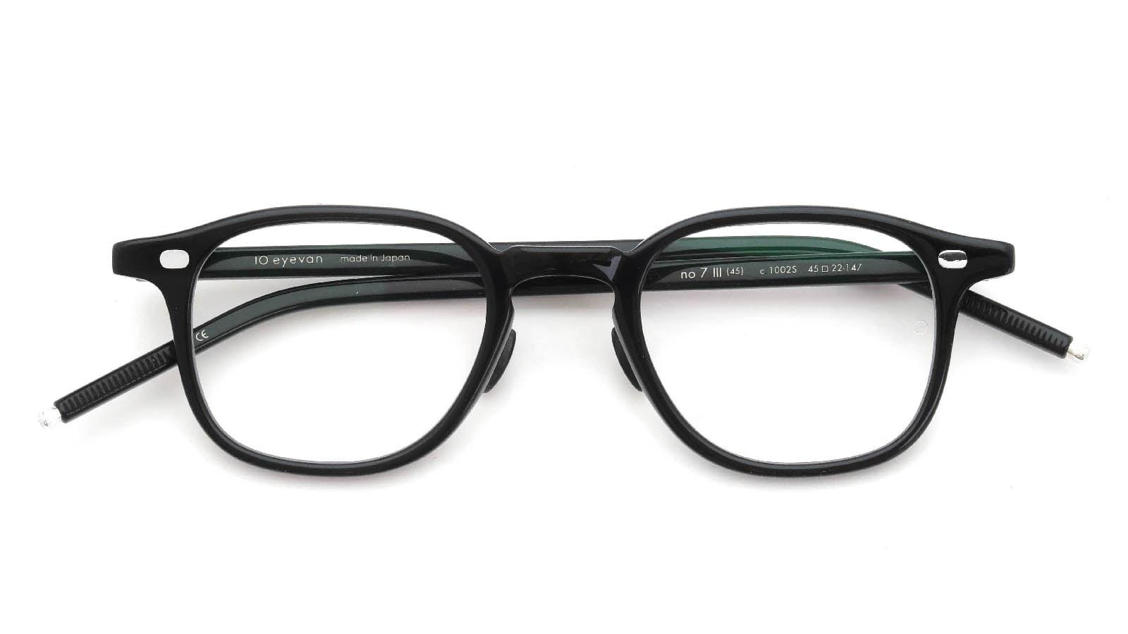 10 eyevan NO.7 Ⅲ 45size  c.1002S Black 折り畳み詳細