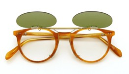 OLIVER PEOPLES クリップオンサングラス Sir O'Malley VLBR ヴィンテージグリーンレンズ 装着例_open