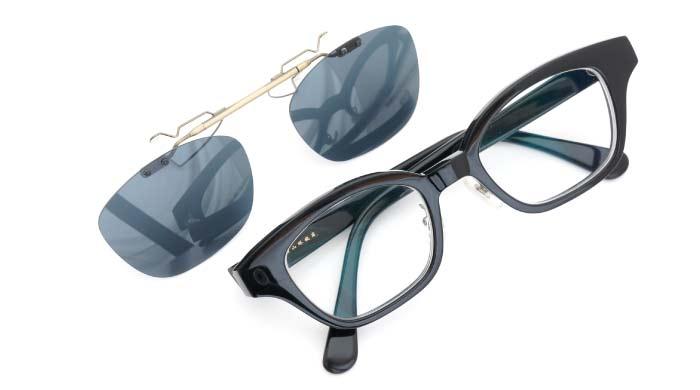 クリップオンサングラス 白山眼鏡 ブラック DG/AG