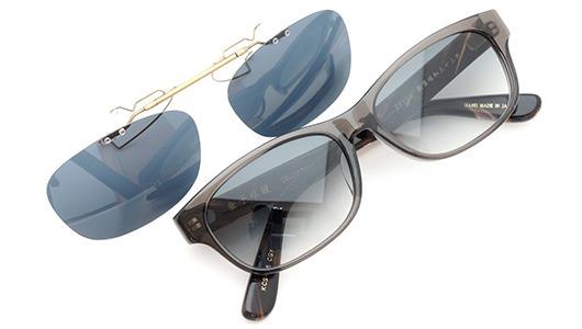 金子眼鏡 ポンメガネオリジナル跳ね上げ式クリップオンサングラス KCS-05_CGY ダークグレーAG 装着例