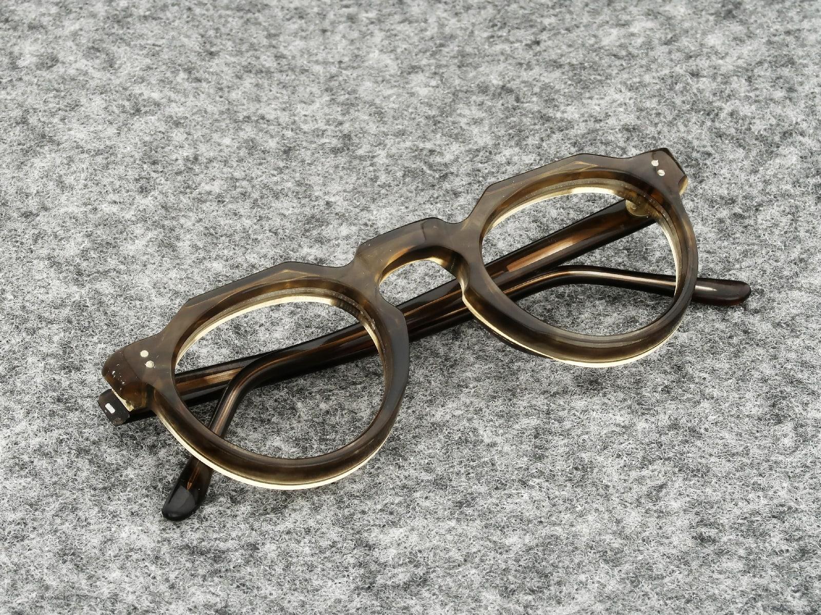 Lesca VINTAGE メガネ CROWN-PANTO 8mm Light-Brown-Marble (v2)