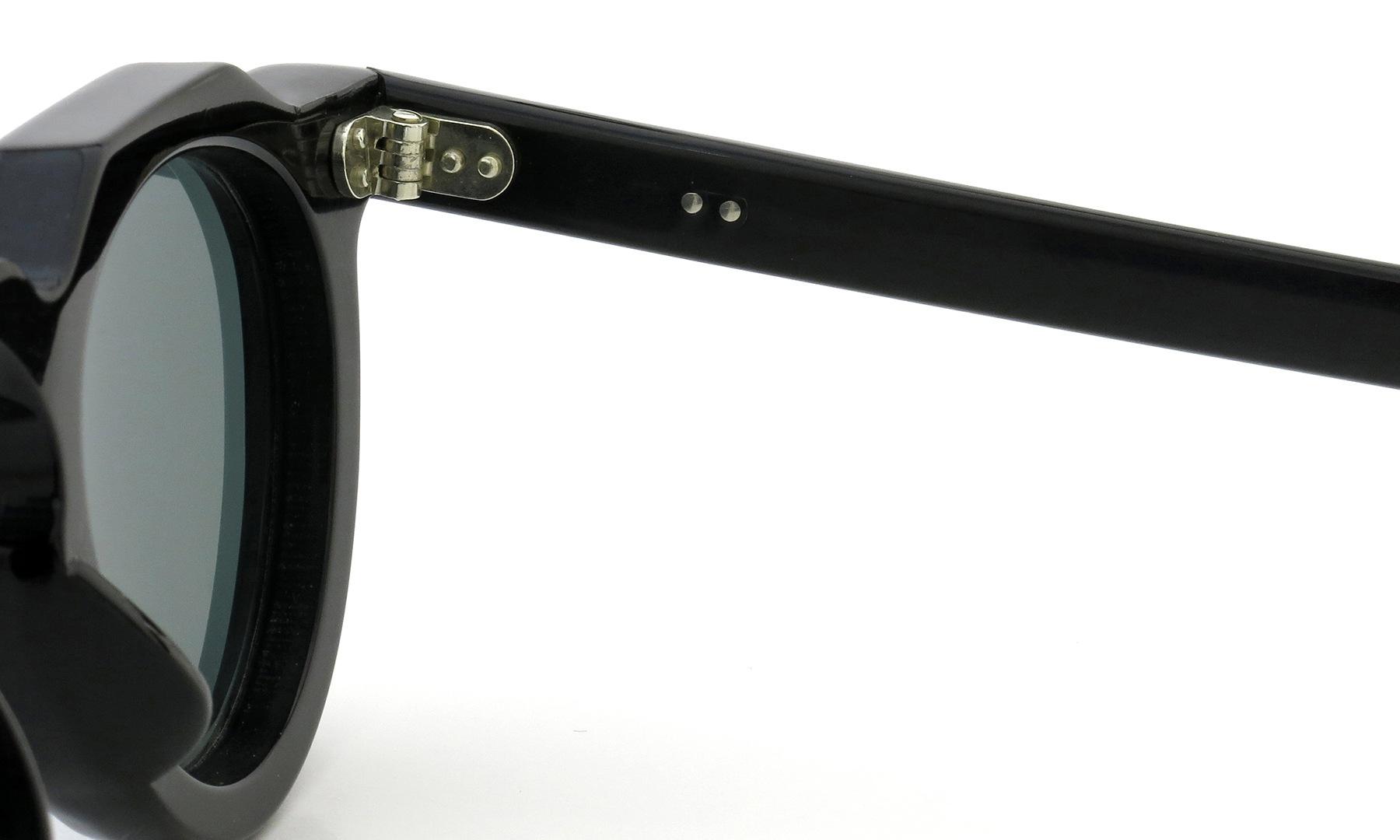 Lesca Vintage Crown-Panto 2dot+2dot Black 8mm (v10) Dark-Grey-Lense 11