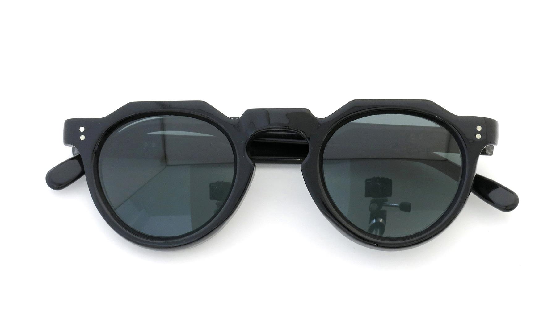 Lesca Vintage Crown-Panto 2dot+2dot Black 8mm (v10) Dark-Grey-Lense 4