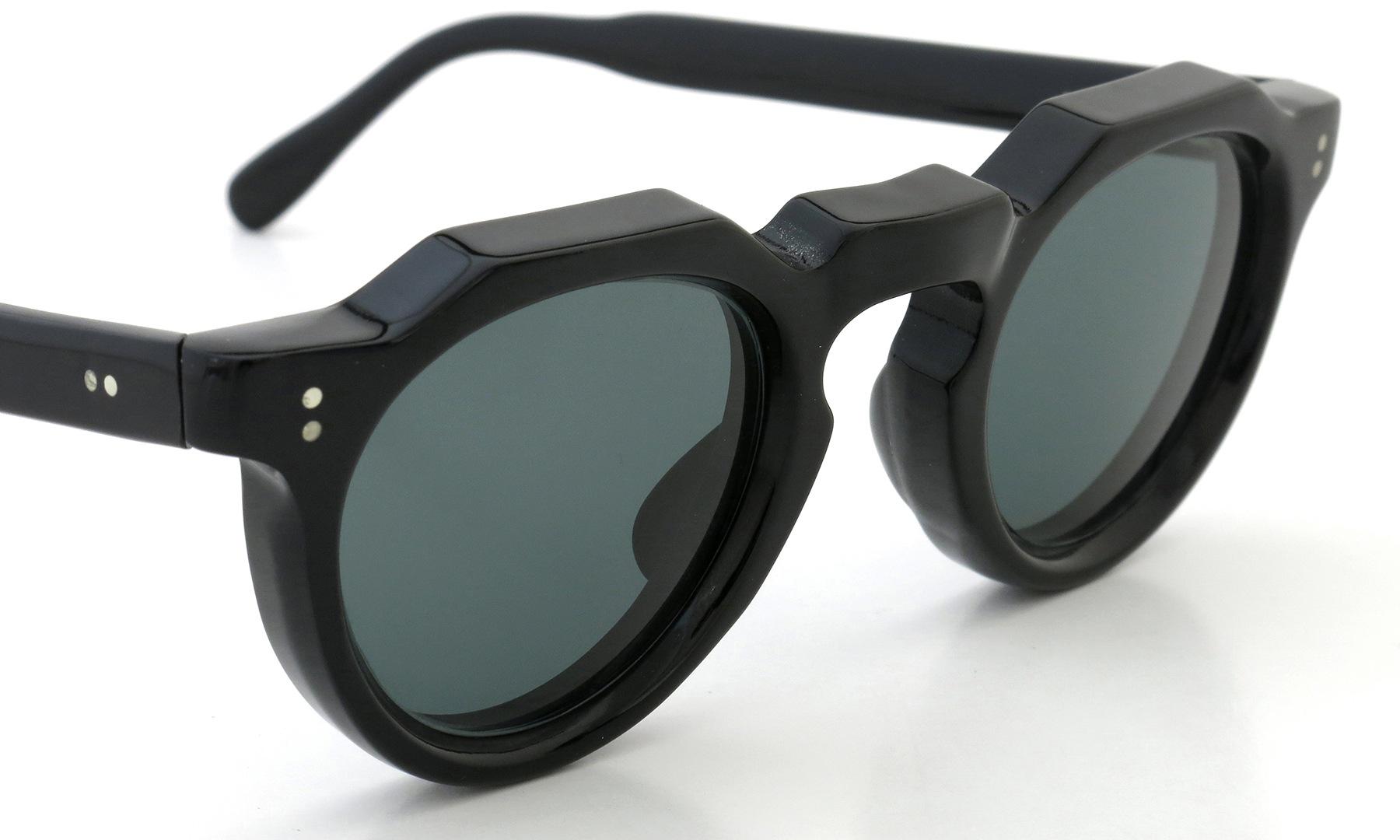 Lesca Vintage Crown-Panto 2dot+2dot Black 8mm (v10) Dark-Grey-Lense 6