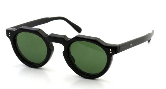 Lesca レスカ Vintage Crown-Panto 2dot+2dot type-A Black 8mm (v7) Green-Lense