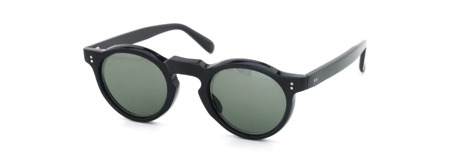 Lesca レスカ Vintage Panto Black 6mm (v7) Dark-Green-lense