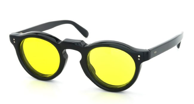 Lesca Vintage Panto Black 8mm Yellow-Lens