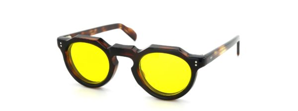 Lesca レスカ Vintage Crown-Panto Crystal-Brown 8mm (v10)  Yellow-Lens