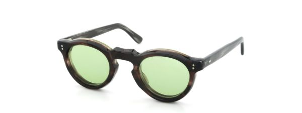 Lesca レスカ VINTAGE Panto Ash-Brown-sasa 8mm (v2) Light-Green-Lens