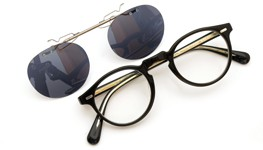 OLIVER PEOPLES 跳ね上げ式クリップオンサングラス Gregory Peck BLACK ダークグレーレンズ装着例