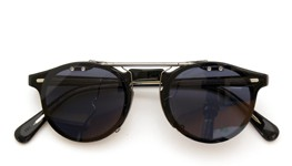 OLIVER PEOPLES クリップオンサングラス Gregory Peck BLACK ダークグレーレンズ装着例_close