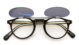 OLIVER PEOPLES クリップオンサングラス Gregory Peck BLACK ダークグレーレンズ装着例_open