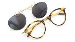 OLIVER PEOPLES 跳ね上げ式クリップオンサングラス OP-505 DTB ダークグレーレンズ 装着例