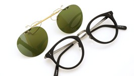 OLIVER PEOPLES ポンメガネオリジナル跳ね上げ式クリップオンサングラス Reeves-P SMBK ヴィンテージグリーンレンズAG 装着例