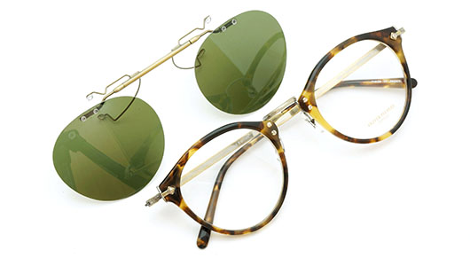 OLIVER PEOPLES ポンメガネオリジナル跳ね上げ式クリップオンサングラス OP-505 DTB ヴィンテージグリーンAG 装着例