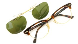 Ray-Ban 跳ね上げ式クリップオンサングラス Clubmaster tortoise-gold ヴィンテージグリーン 装着例