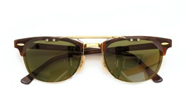 Ray-Ban クリップオンサングラス Clubmaster tortoise-gold ヴィンテージグリーン 装着例_close