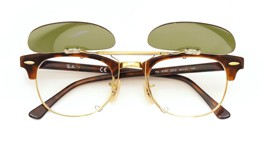 Ray-Ban クリップオンサングラス Clubmaster tortoise-gold ヴィンテージグリーン 装着例_open