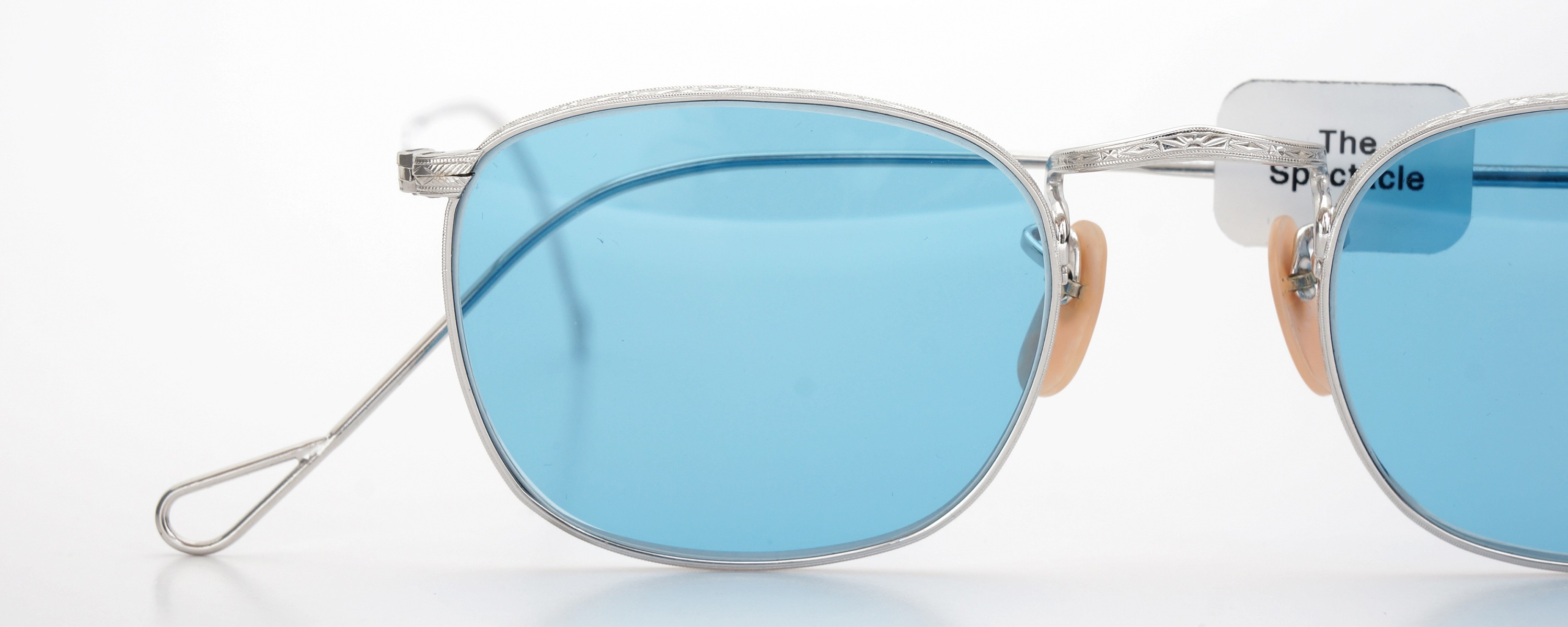 The Spectacle メガネ 1930s-40s Bausch&Lomb Full-Frame Ful-Vue Whitaker WG 45-21 Light-Blue-Lense イメージ17