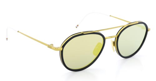 THOM BROWNE トムブラウン メガネ TB-801-B 18kGLD-NVY-51size Dark-Blue-Gold-Mirror