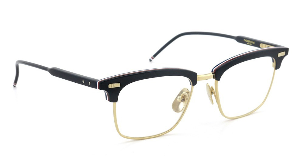 THOM BROWNE トムブラウン 2015年秋冬 新作メガネ TB-711-A NVY-RED-WHT-GLD 52size