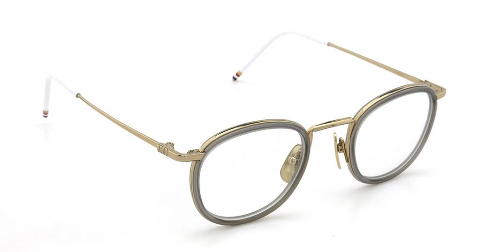 THOM BROWNE トムブラウン 2015年春夏 クリップオンサングラスつきメガネ TB-710-B 12k GLOLD - SATIN GREY 46size メガネとしてご利用時