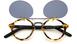 クリップオンサングラス OLIVER PEOPLES 1955 MTB/MBK ミドルグレー_open装着例