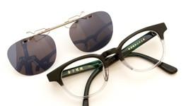 金子眼鏡 跳ね上げ式クリップオンサングラス KC18 BKCL ダークグレー装着例