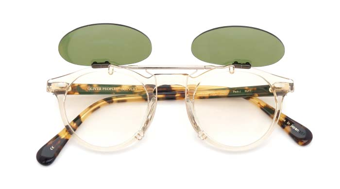 クリップオンサングラス OLIVER-PEOPLES Gregory-Peck-J BUFF RG/G open