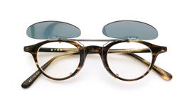 跳ね上げ式クリップオンサングラス 金子眼鏡 EKC-19 グリーンブルー _open装着例