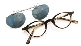 跳ね上げ式クリップオンサングラス 金子眼鏡 EKC-19 グリーンブルー 装着例