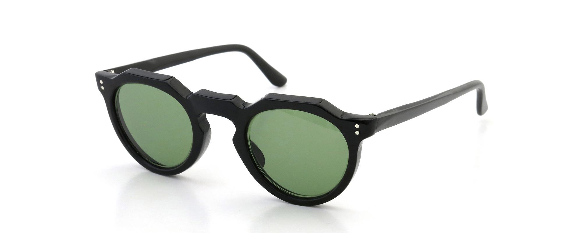 Lesca Vintage Crown-Panto type-A Black 6mm (v16) Green Lense