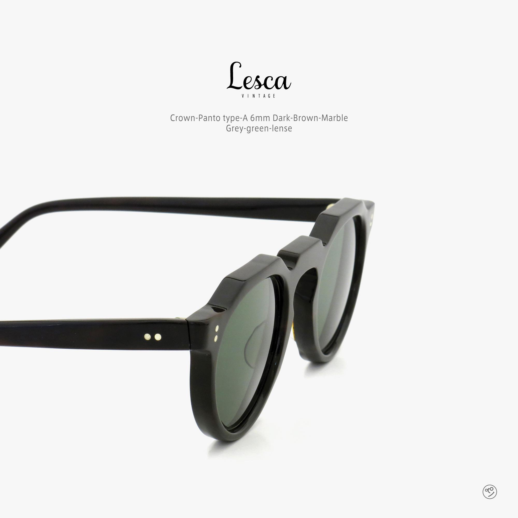 lesca-vintage_Crown-Panto_type-A_6mm_Dark-Brown-Marble_Grey-green-lense_insta