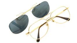no brand ポンメガネオリジナル跳ね上げ式クリップオンサングラス gold グリーンブルーレンズGM 装着例