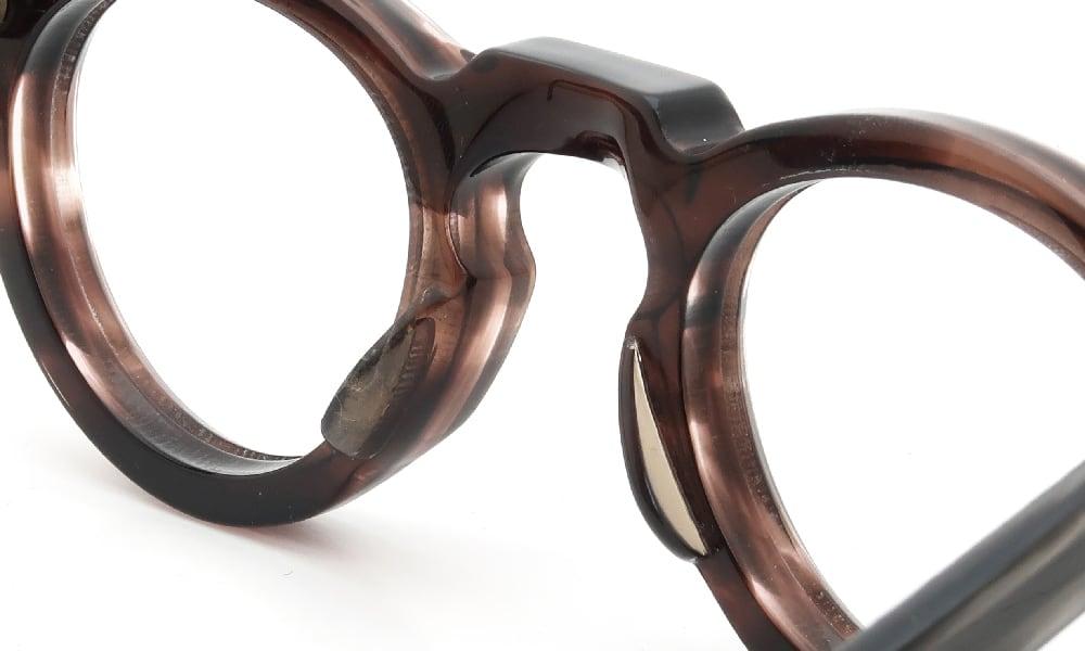 眼鏡の鼻あて・パット交換 Lesca VINTAGE Crown Panto 8mm Ash-Brown-Sasa 前