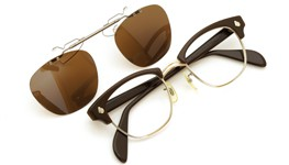 American Optical [vintage] 跳ね上げ式クリップオンサングラス 1960s AO鋲 チョコレート/シルバー 48-22 GM ダークブラウンレンズ 装着例