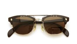 American Optical [vintage] クリップオンサングラス 1960s AO鋲 チョコレート/シルバー 48-22 GM ダークブラウンレンズ 装着例_close